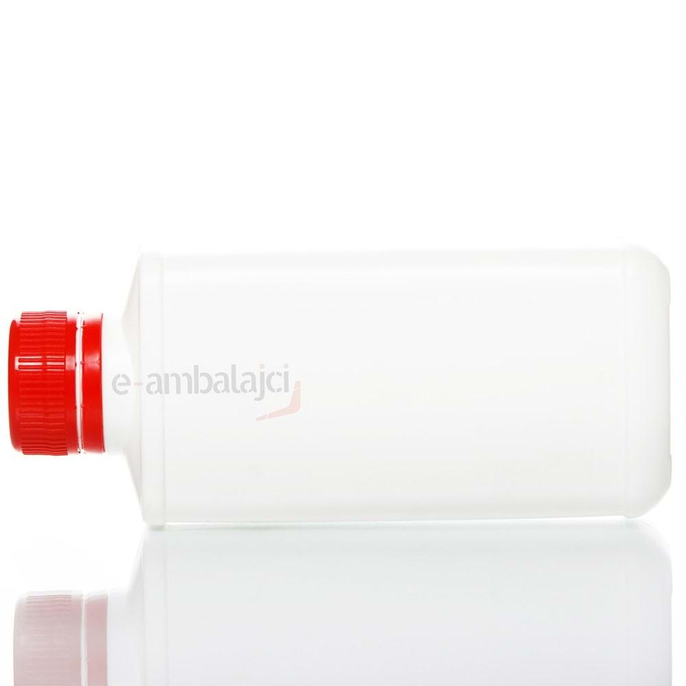 250ml PE Köşeli Şişe ve Kırmızı Kapak