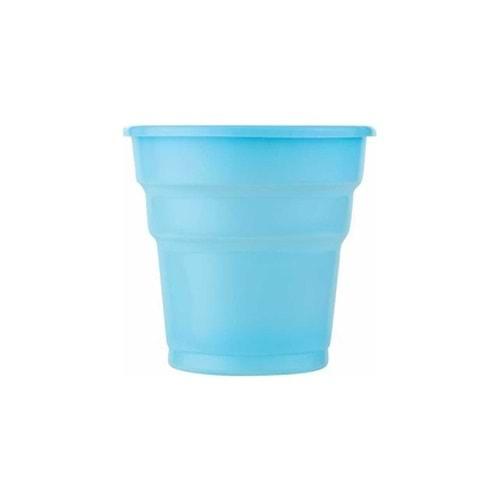 Roll-Up Açık Mavi Plastik Bardak 25 li