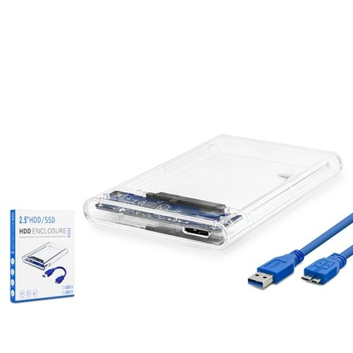 HADRON HDX1760 HARDDİSK KUTUSU ŞEFFAF USB 3.0 SATA 2.5