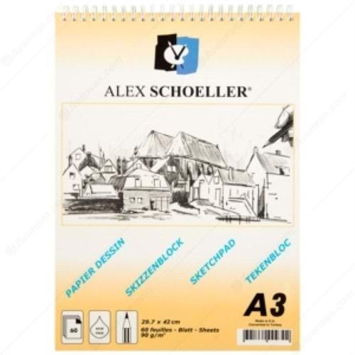 ALEXSCHOELLER | ESKİZ ÇİZİM BLOK SPR A-3 90gr 60yp DİKEY 822